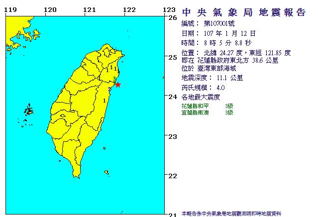 今天上午8時5分花蓮發生芮氏規模4.0地震。圖/擷自中央氣象局官網