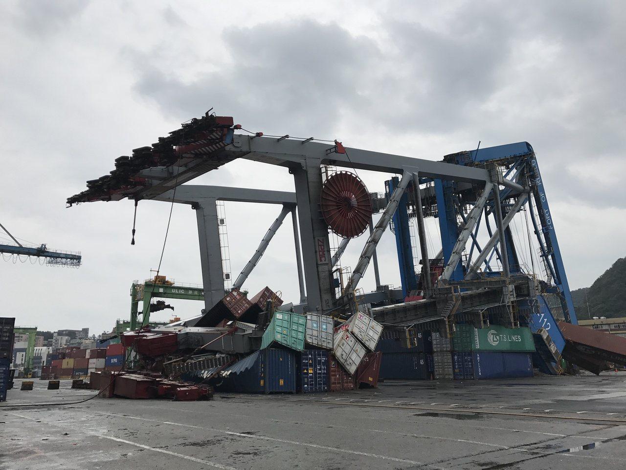 基隆港貨輪撞毀橋式機,苦主求償13億。記者吳淑君/攝影