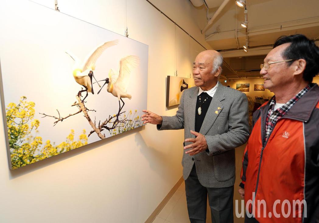 黑琵家族攝影俱樂部成員王徵吉(左)解說拍攝黑琵的辛勞。記者劉學聖/攝影