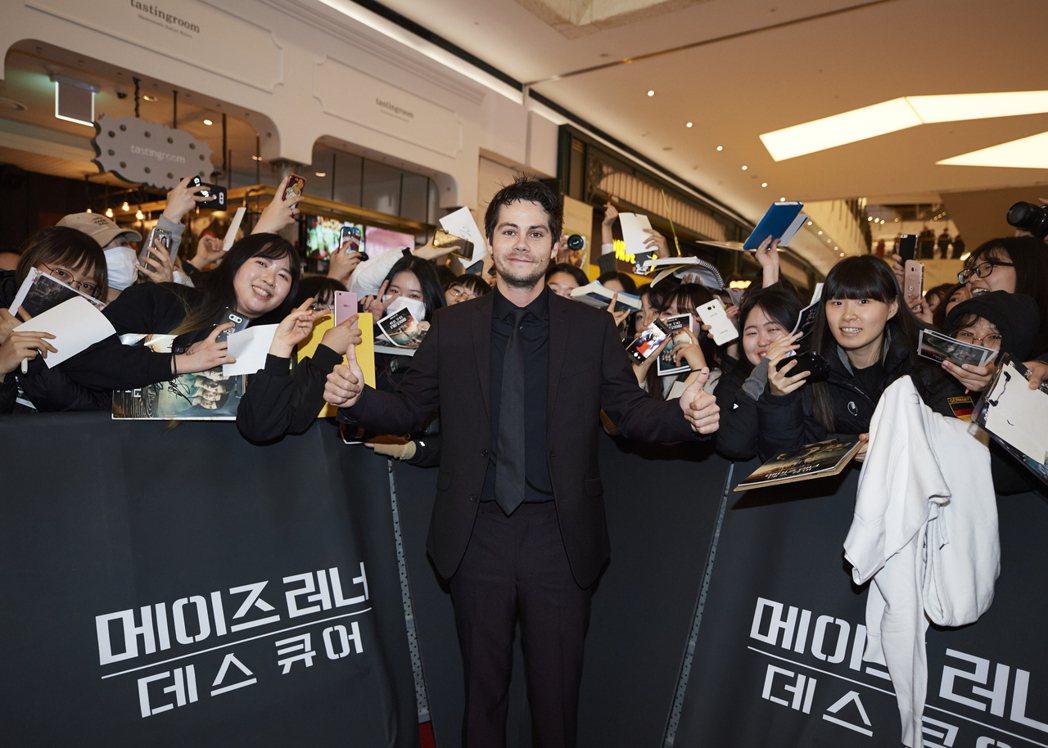狄倫歐布萊恩在「移動迷宮:死亡解藥」首爾首映會上開心與粉絲互動。圖/福斯提供