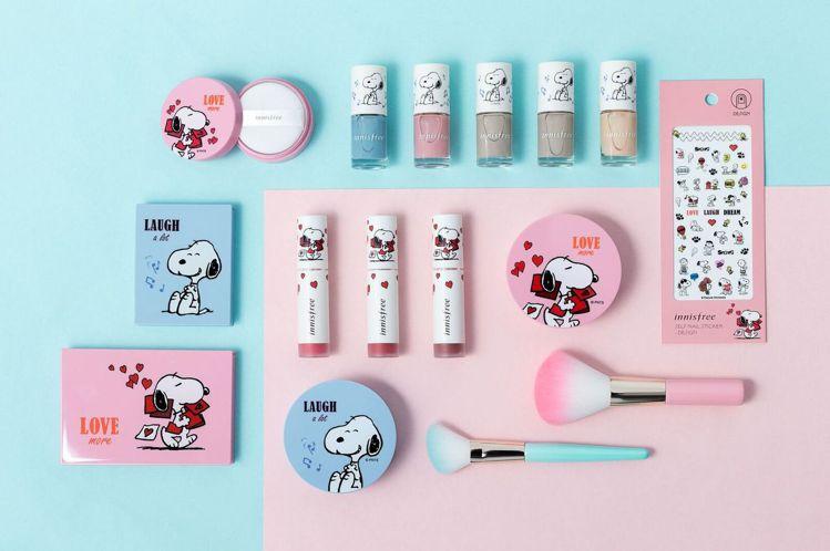 innisfree X SNOOPY限量彩妝系列結合可愛造型設計與熱賣品項。圖/...