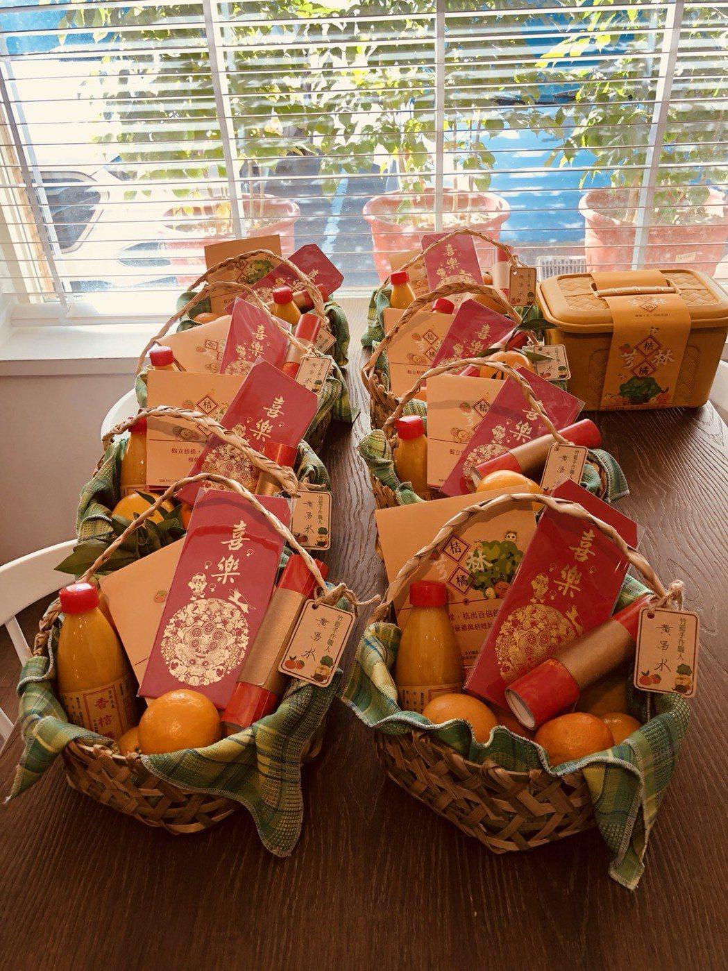 新竹縣芎林農創團隊推出「吉(橘)利一家人」創新禮盒。圖/鄭昱芸提供