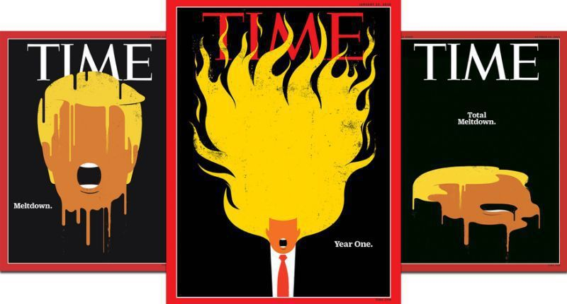 時代雜誌(Time)最新一期封面,讓川普「頭頂一把火」。(圖/擷自時代雜誌網站)