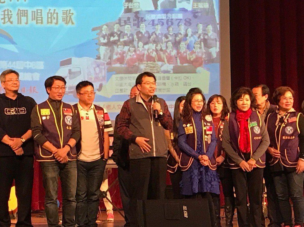 台中市社會局副局長陳仲良致詞,感謝國際同濟會中B區對社會的付出。 楊逢峮/攝影