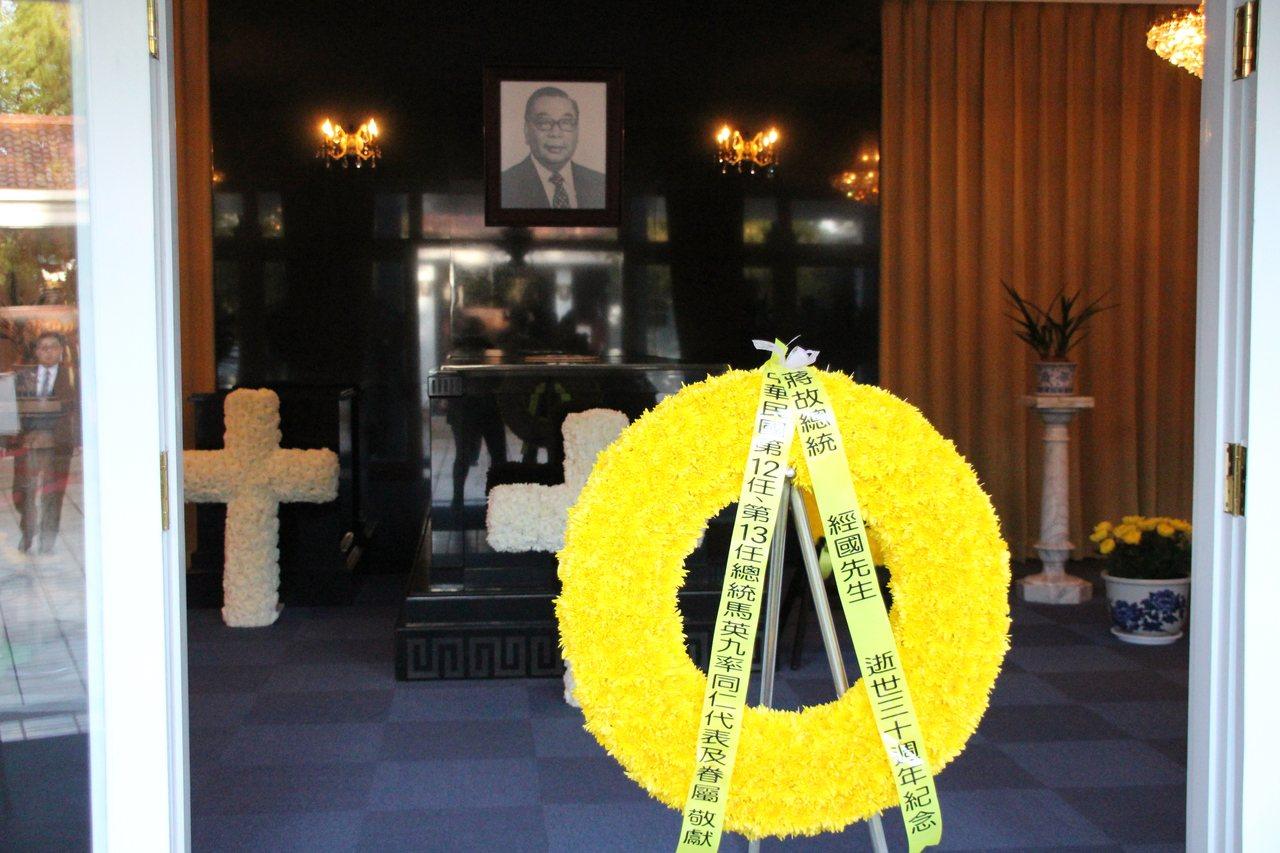 故總統蔣經國逝世30週年,前總統馬英九今早至桃園大溪陵寢謁陵。記者許政榆/攝影