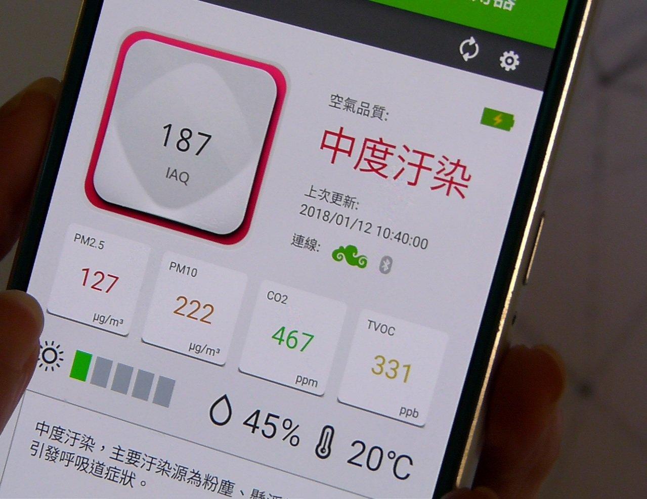 透過手機可以輕鬆掌握學校教室裡外空氣品質。記者鄭國樑/攝影