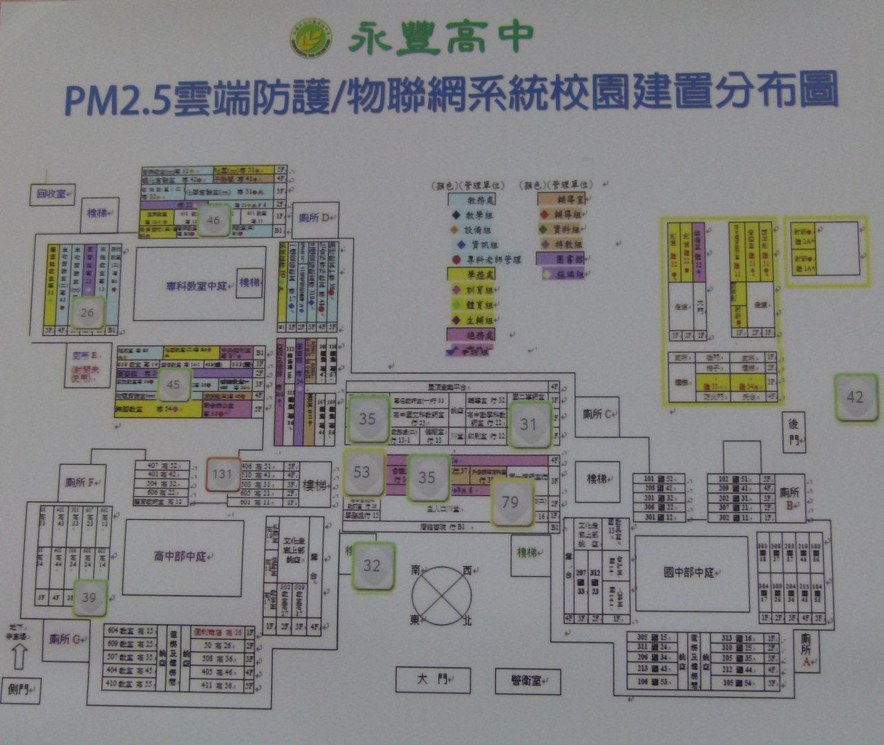 永豐高中在校園建構16個點監測空氣品質。記者鄭國樑/攝影