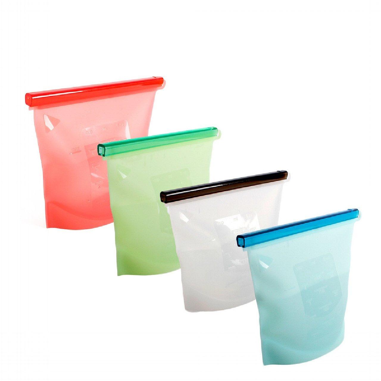 OUTSY嚴選白金矽膠食物密封袋4入組,6.3折特價950元。圖/PChome2...