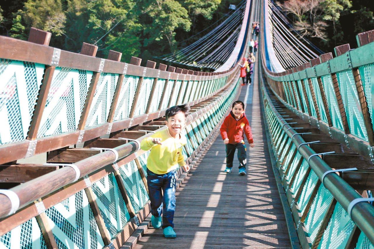 全台最長的懸索橋、桃園市復興區新溪口吊橋昨天啟用,不少家長帶孩子來體驗。 記者許...