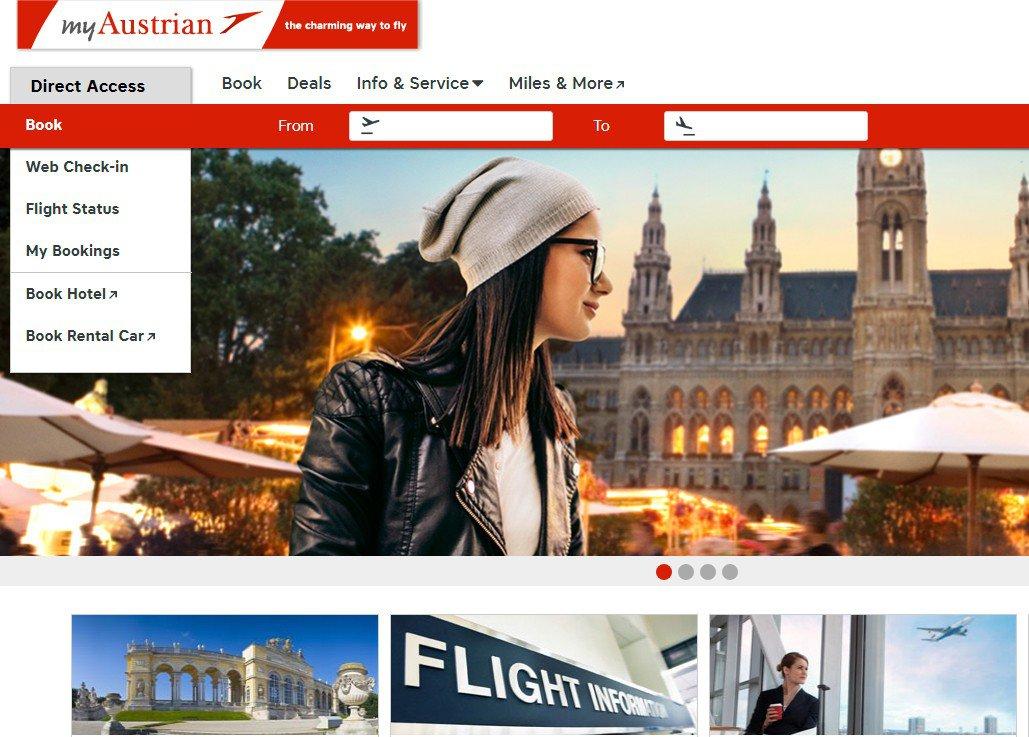 陸媒點名奧地利航空英文官網,在國家選項有中華民國台灣。 圖/取自奧地利航空官網