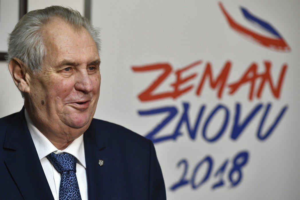 捷克於12和13日舉行總統選舉,親俄羅斯的現任總統齊曼(圖)在首輪投票取得領先地...