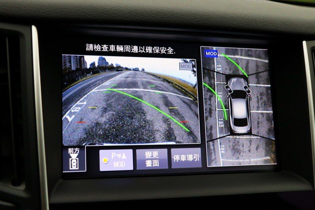 AVM 360 度環景顯影系統及MOD 動態物體偵測功能。 記者陳威任/攝影