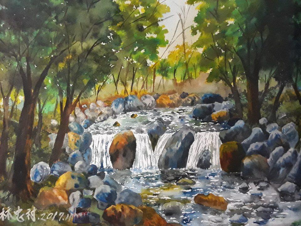 林忠村的水彩畫朴子溪(母親之河)。記者謝恩得/翻攝