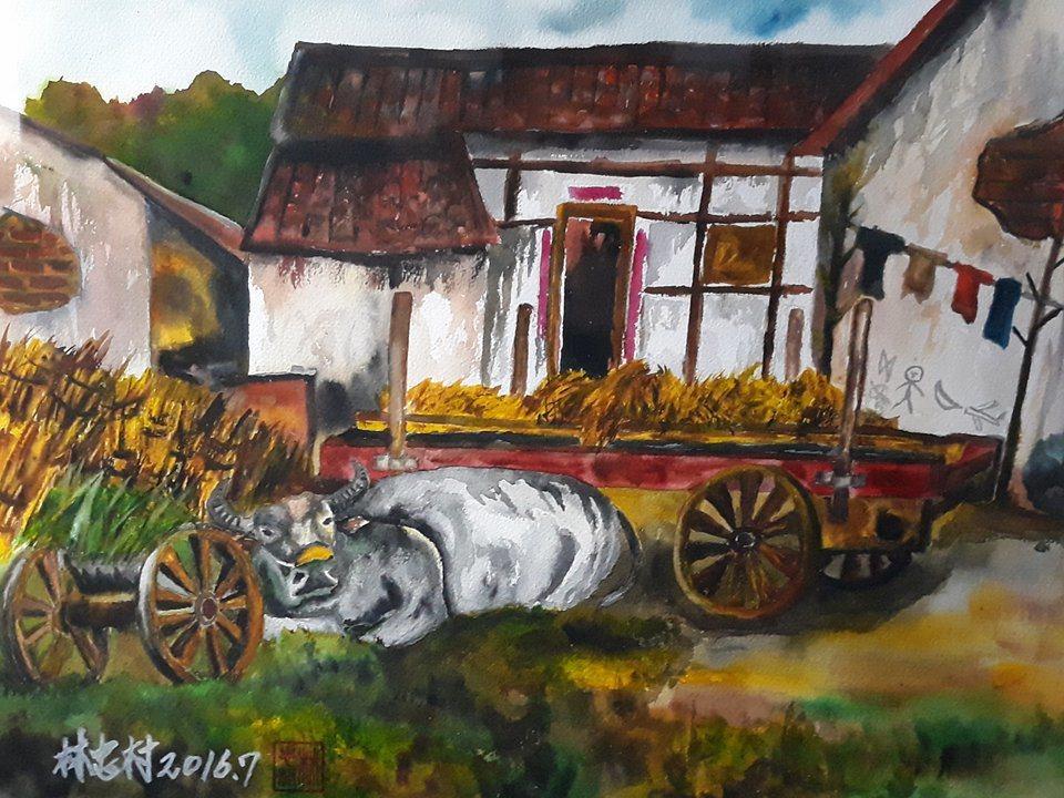 林忠材以故鄉的人文地景和產業做題材,把家鄉最美的一面描繪出來記者謝恩得/翻攝