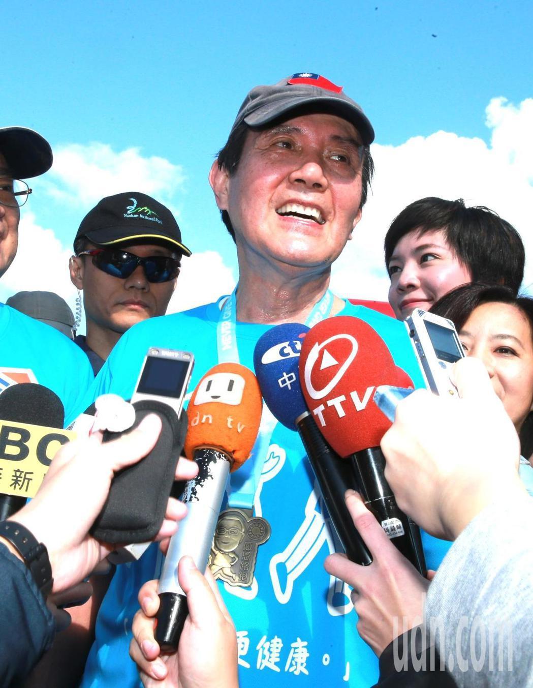 前總統馬英九(圖)上午參加「先總統經國先生逝世30週年」感恩路跑活動,對於媒體報...