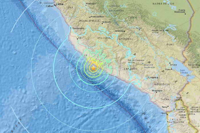 秘魯地震發生後,當局原本對秘魯和智利發出海嘯警告。(美國地質調查局提供)