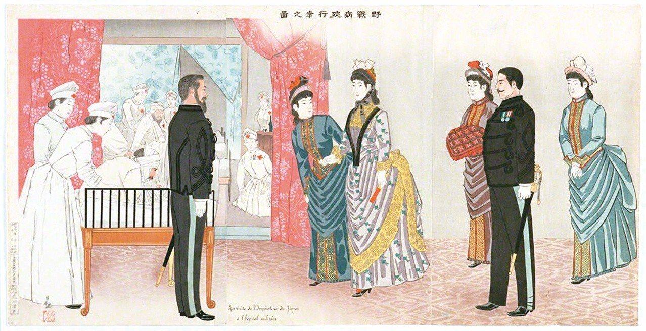 圖1:〈野戰病院行幸之圖〉,小林清親畫,1895年。