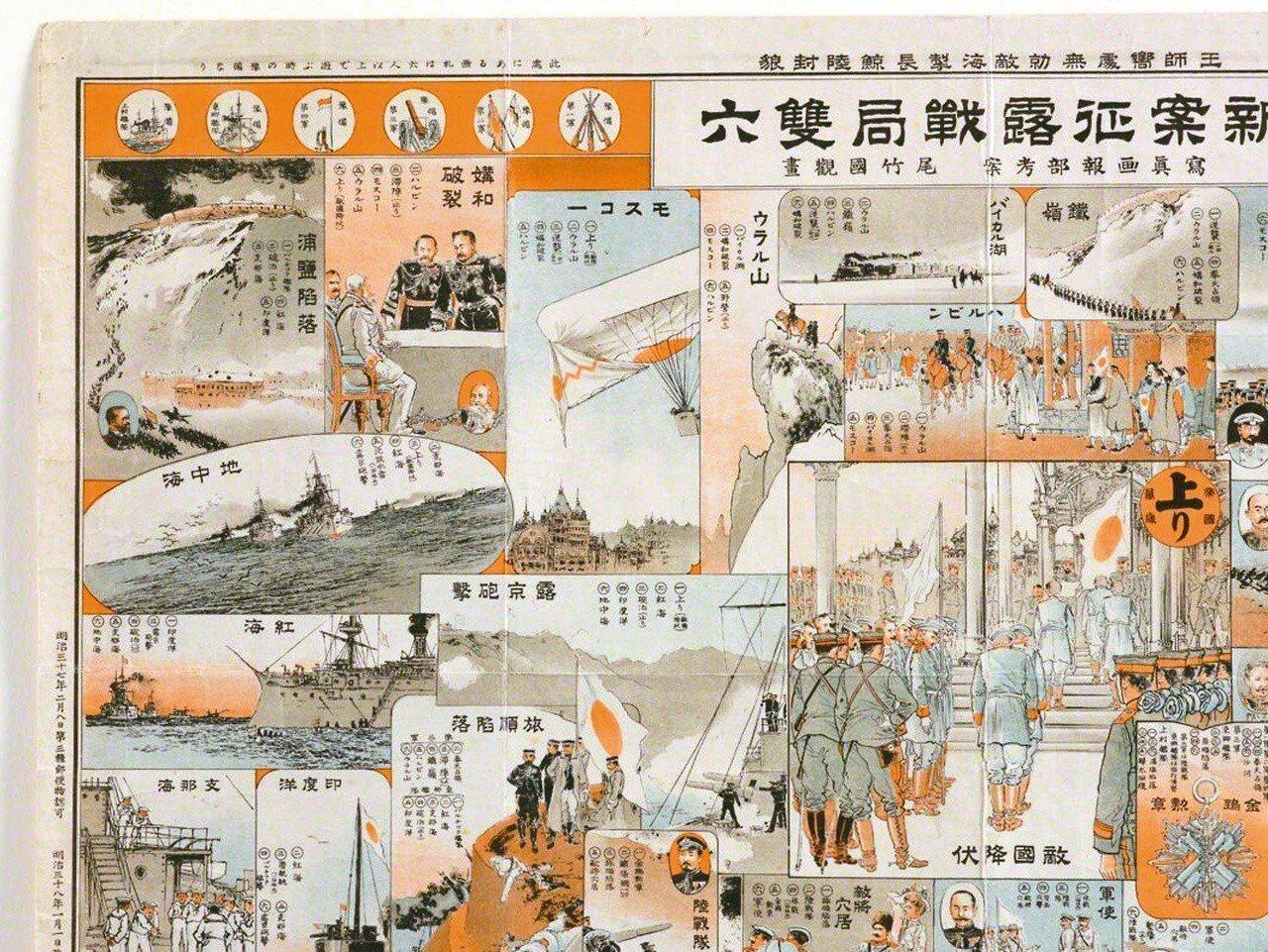 圖3:〈新案征露戰局雙六〉左上角,日本人對戰爭空間的想像力驚人。