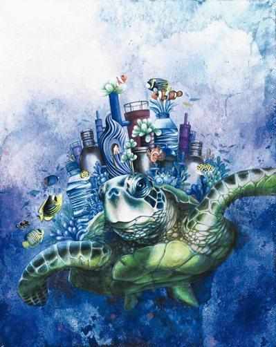 香港南南教育基金會2017慈善晚宴上,來自台灣的新銳環保生態女性畫家蔡沛珊的作品...