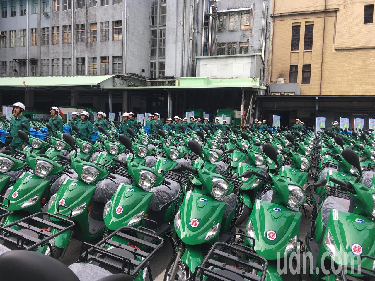 中華郵政今年舉辦電動機車車隊成軍誓師大會。記者雷光涵/攝影