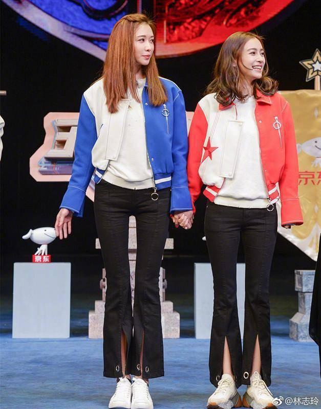 Angelababy穿厚底球鞋與台灣第一名模林志玲參加節目錄影。圖/摘自微博