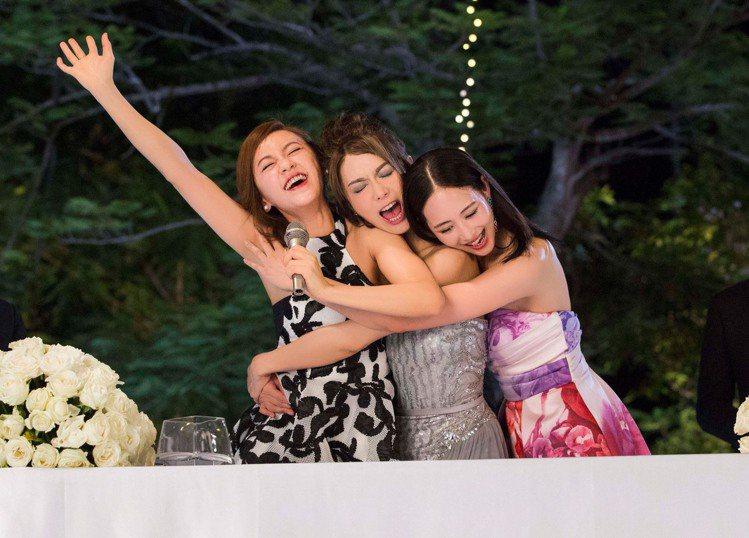 陳意涵(左起)、薛凱琪以及張鈞甯新片「閨蜜2」終於定檔。圖/華映提供