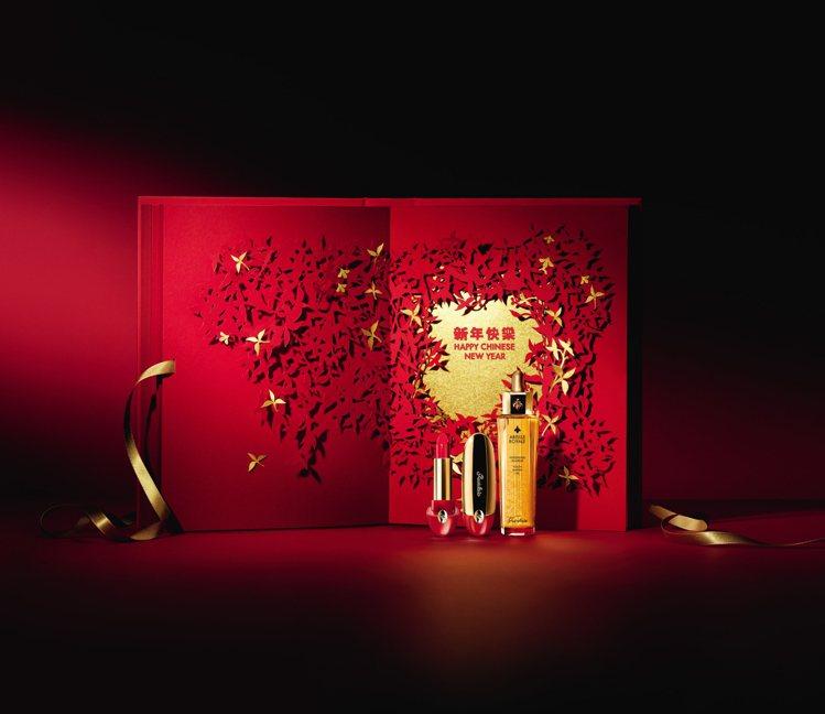 皇家蜂王乳平衡油紅綻迎春限量版50ml售價5,300元;嬌蘭紅寶之吻唇膏#25火...