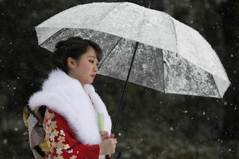 和服這個傳統行業,能否渡過景氣寒冬仍是未見之天。圖為在東京豐島園舉辦的成人式。 ...