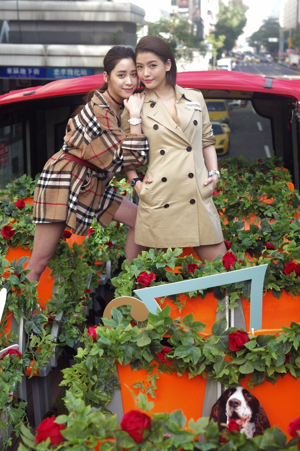 歐陽妮妮(左)與王樂妍(右)出席SWATCH手表活動。記者蘇健忠/攝影