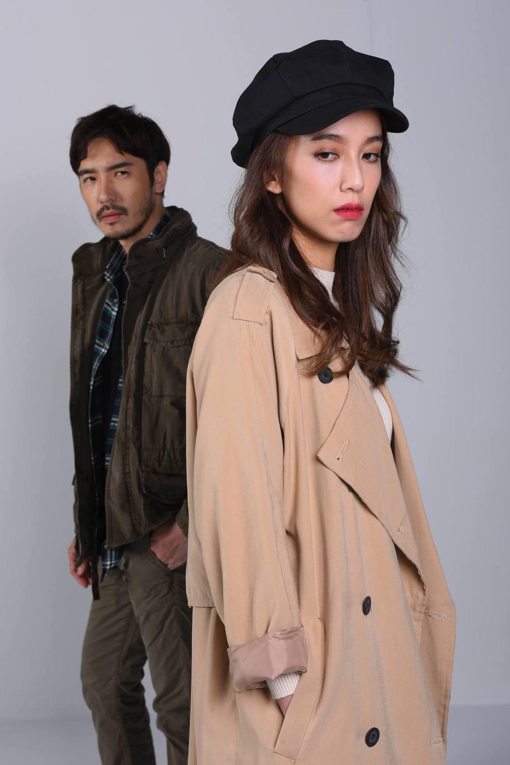 陳庭妮、李至正戲中將有段曖昧情愫,但私下絲毫不來電。圖/緯來電影台提供