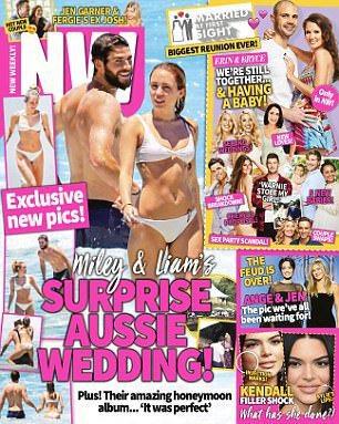 連恩漢斯沃與麥莉在澳洲海灘戲水,被八卦雜誌指為「蜜月」。圖/摘自NW