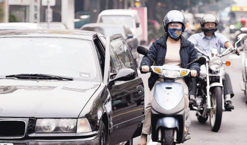 轎車併排停車突然開車門,嚴重威脅機車騎士危險。 圖/聯合報系資料照片