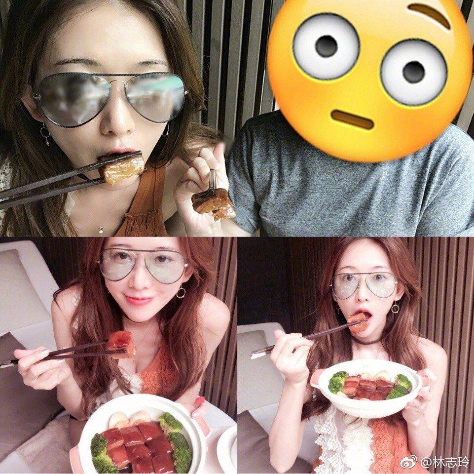 林志玲吃相超優美。 圖/擷自微博。