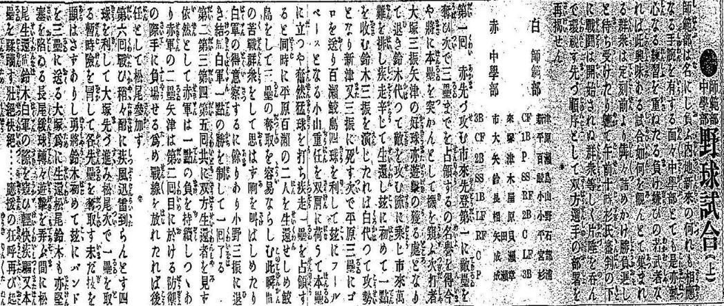 師範部中學部野球試合(上)。 圖/臺灣日日新報(1907/01/23 05版 雜...