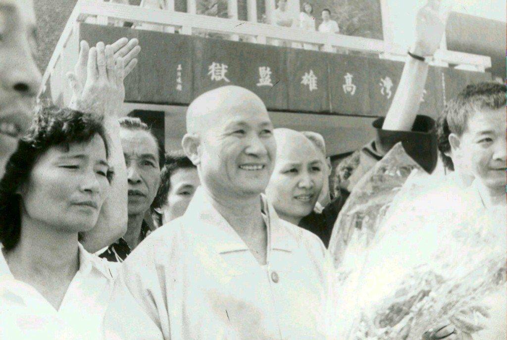 圖為龍發堂負責人李焜泰,於1984年出獄畫面。 圖/聯合報系資料照
