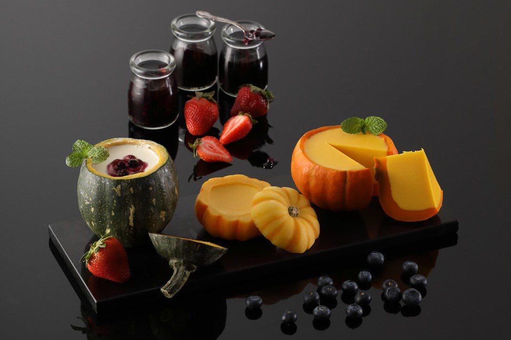 「栗子南瓜盅布丁佐野莓醬」用的是高雄杉林巴掌栗子南瓜。圖/Mega 50提供
