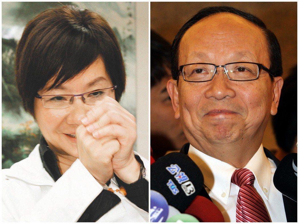 2011年立委黨內初選民調落後羅淑蕾(左)的蔣孝嚴(右),最後宣布退選。 圖/聯...