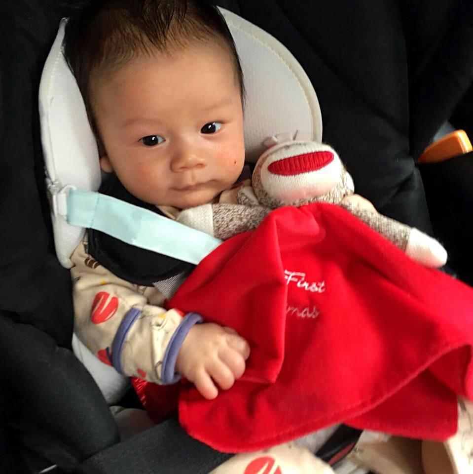 可愛的Egan將陪著過生日的媽媽到錄影現場。圖/摘自臉書
