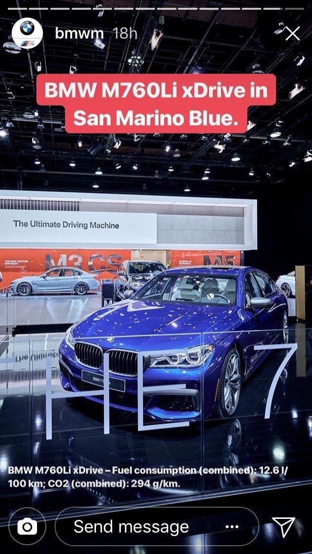 BMW以M760i xDrive取代展出。 摘自BMW M Instagram ...