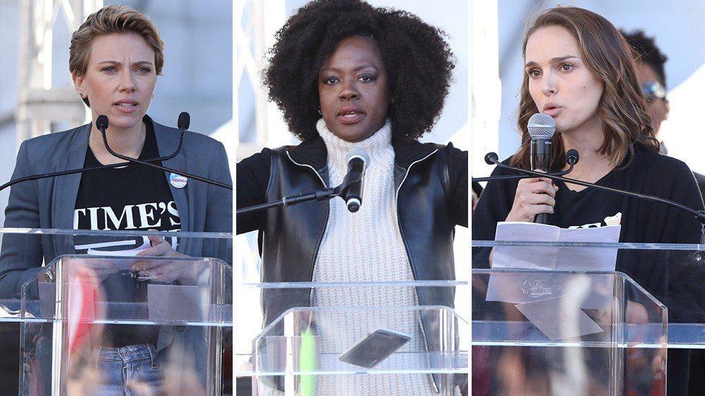 美聯社報導,洛杉磯數萬群眾在街頭示威響應年度婦女大遊行(Women's Marc