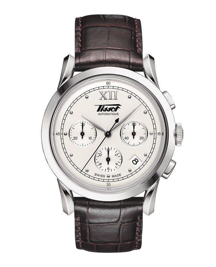 天梭Heritage 1948計時碼表,不鏽鋼表殼搭配皮革表帶,搭載ETA 28...