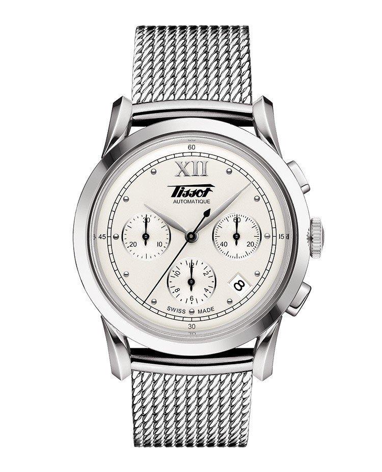 天梭Heritage 1948計時碼表,不鏽鋼表殼搭配金屬米蘭鍊表帶,搭載ETA...
