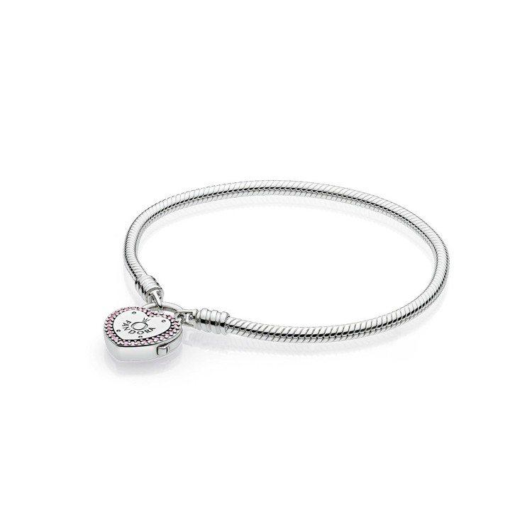 愛心掛鎖粉色鋯石925銀手鍊,3,380元。圖/PANDORA提供