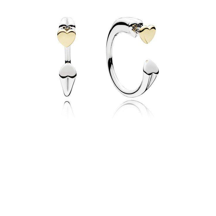 心相對14K金925銀耳環,3,380元。圖/PANDORA提供