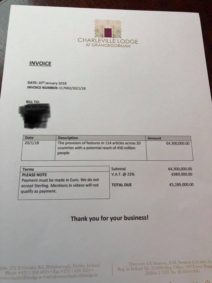 愛爾蘭都柏林白麋飯店老闆斯滕森拒絕達比的合作後,在臉書粉絲頁貼出假帳單,打趣說要...