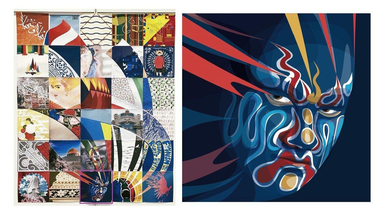 國際技能賽黃于貞設計台灣八家將圖像作品,展現濃濃台灣味。圖/黃于貞提供