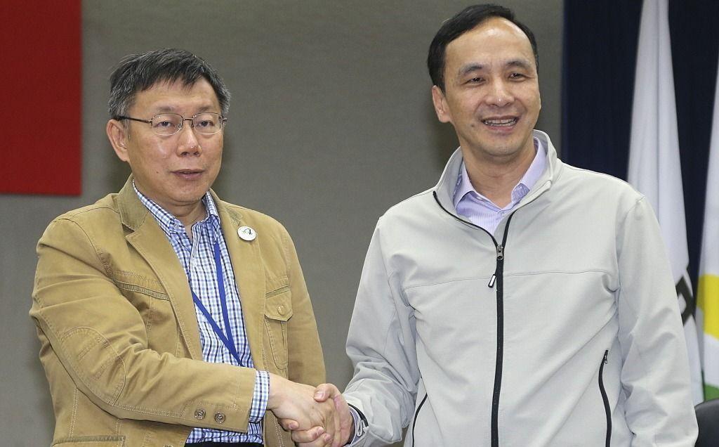 台北市長柯文哲(左)與新北市長朱立倫(右)。 圖/聯合報系資料照片