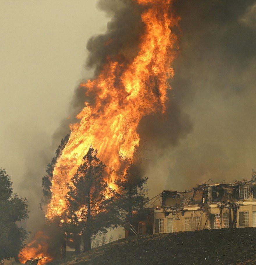 聖羅沙市希爾頓飯店遭到野火吞食。(美聯社)