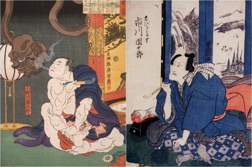 「吃不飽但是抽起來好像很有風格」。圖左為是江戶時代的第五代橫綱、相撲力士小野川喜...