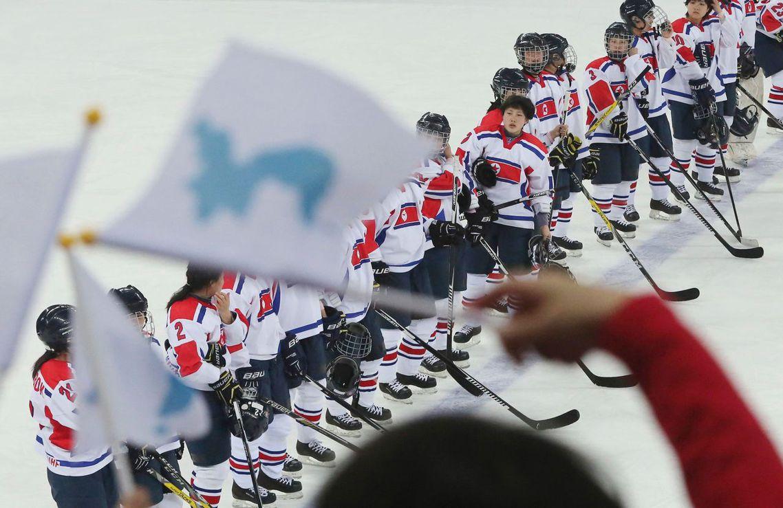 北韓女子冰上曲棍球隊。 圖/美聯社